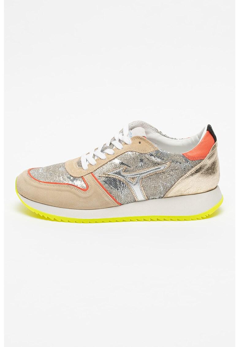 Pantofi sport de piele intoarsa si material textil cu paiete Etamin