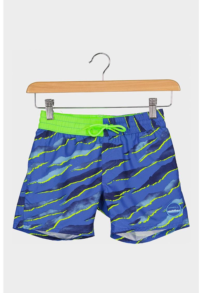 Pantaloni scurti de baie cu imprimeu si detalii logo