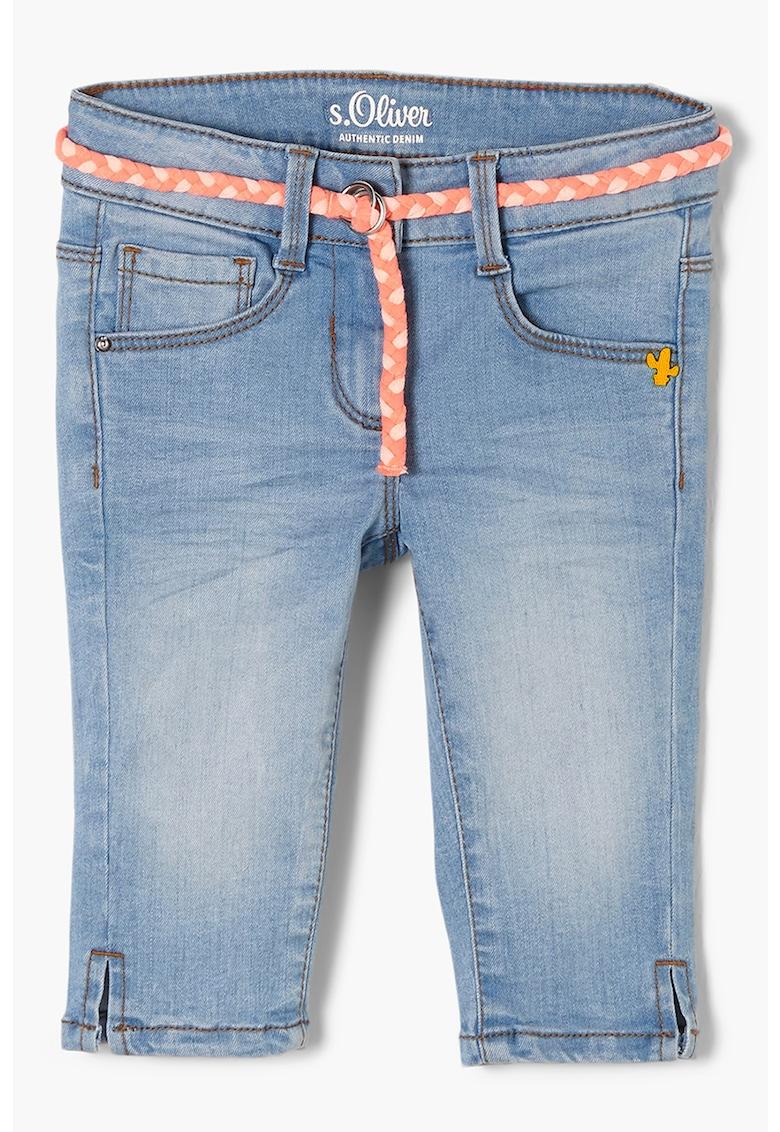 Pantaloni scurti de denim din amestec de lyocell cu o curea