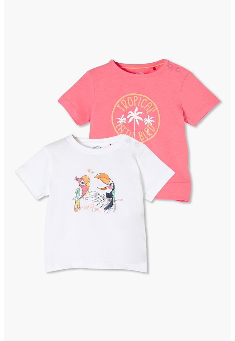 Set de tricouri din bumbac cu imprimeuri diverse - 2 piese