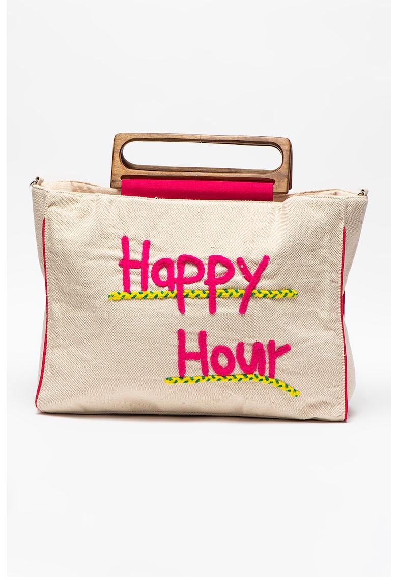 Geanta cu text brodat Happy Hour