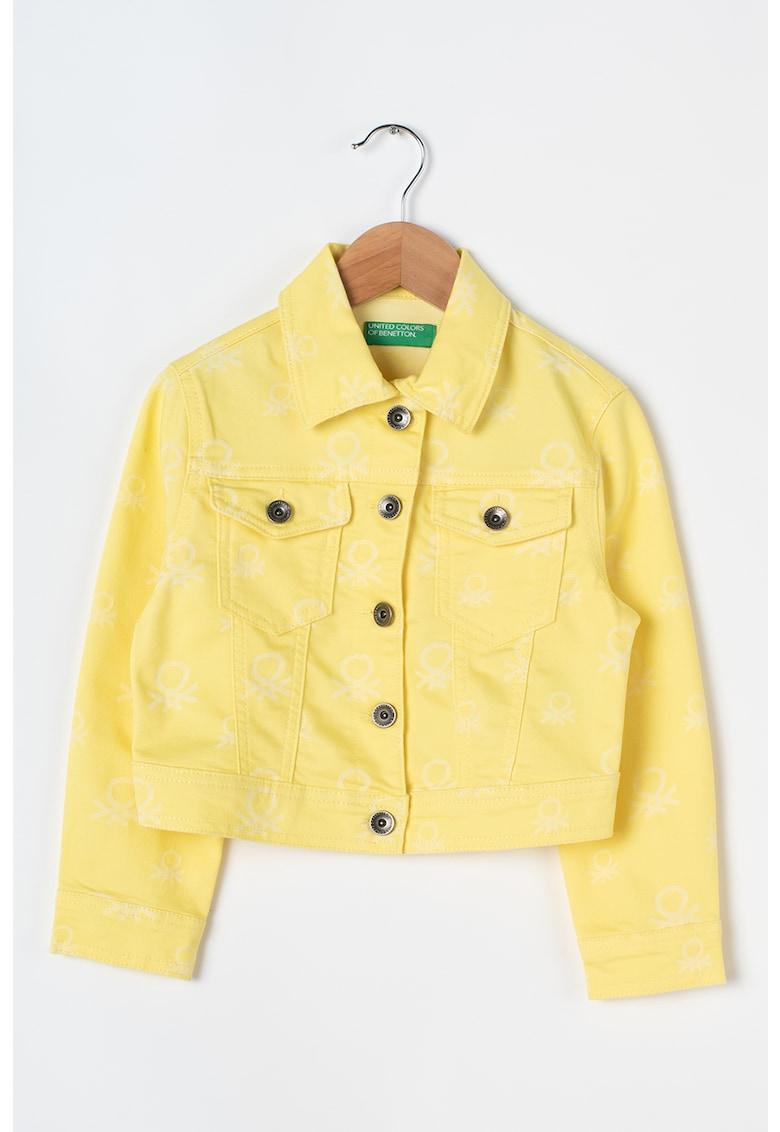 Jacheta din denim cu imprimeu logo