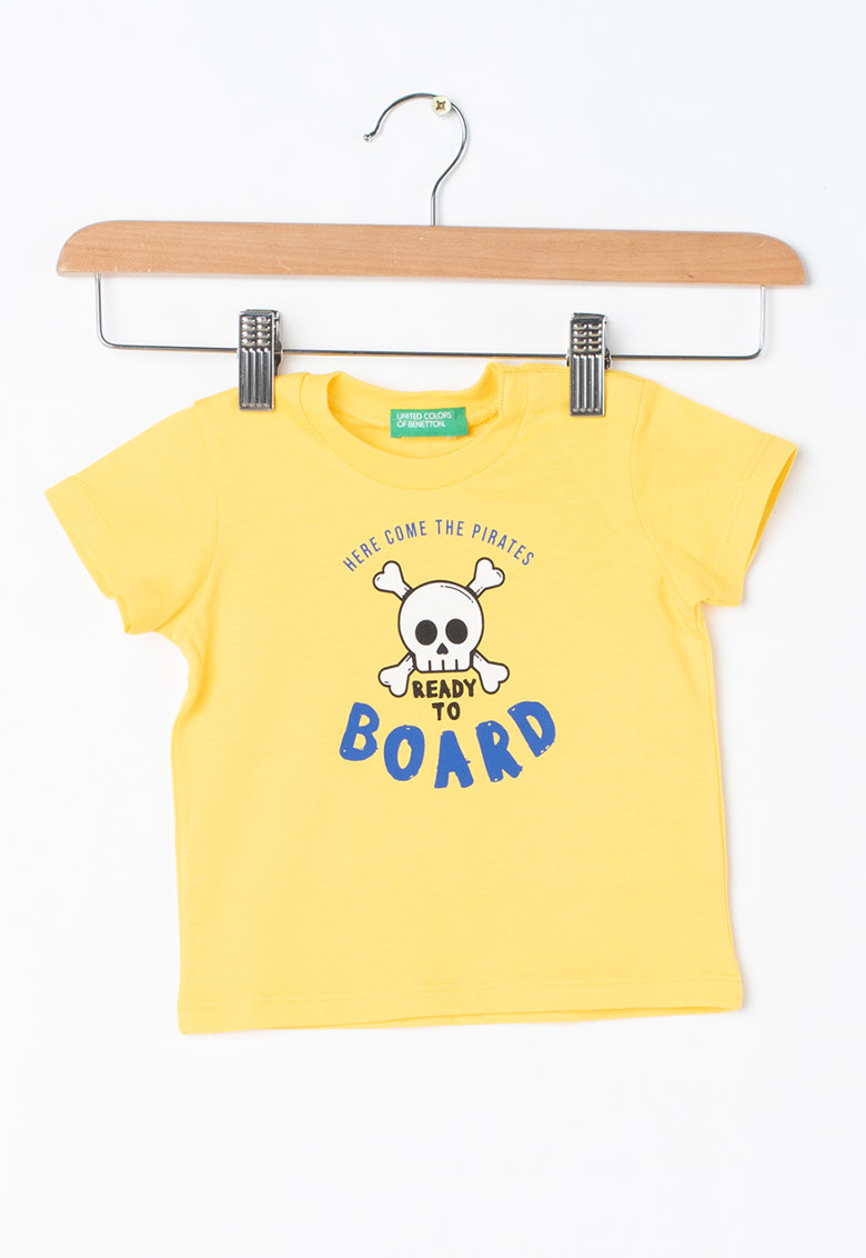 Tricou de bumbac cu imprimeu text de la United Colors of Benetton