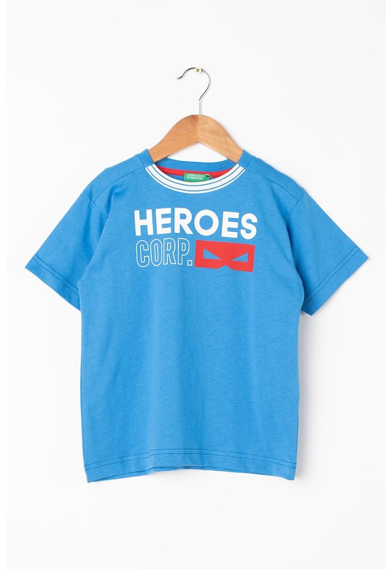 Tricou de bumbac cu decolteu la baza gatului de la United Colors of Benetton
