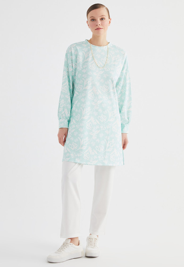 Set de bluza de bumbac cu imprimeu si pantaloni - 2 piese
