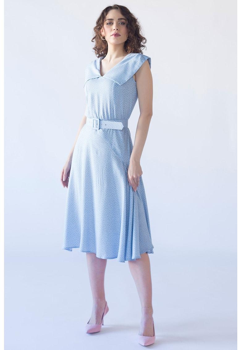 Rochie midi cu model cu buline si curea