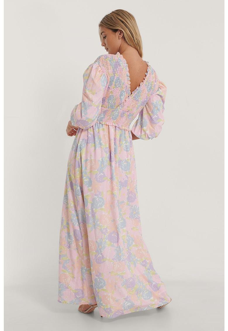Rochie maxi cu imprimeu floral si decolteu cache-coeur