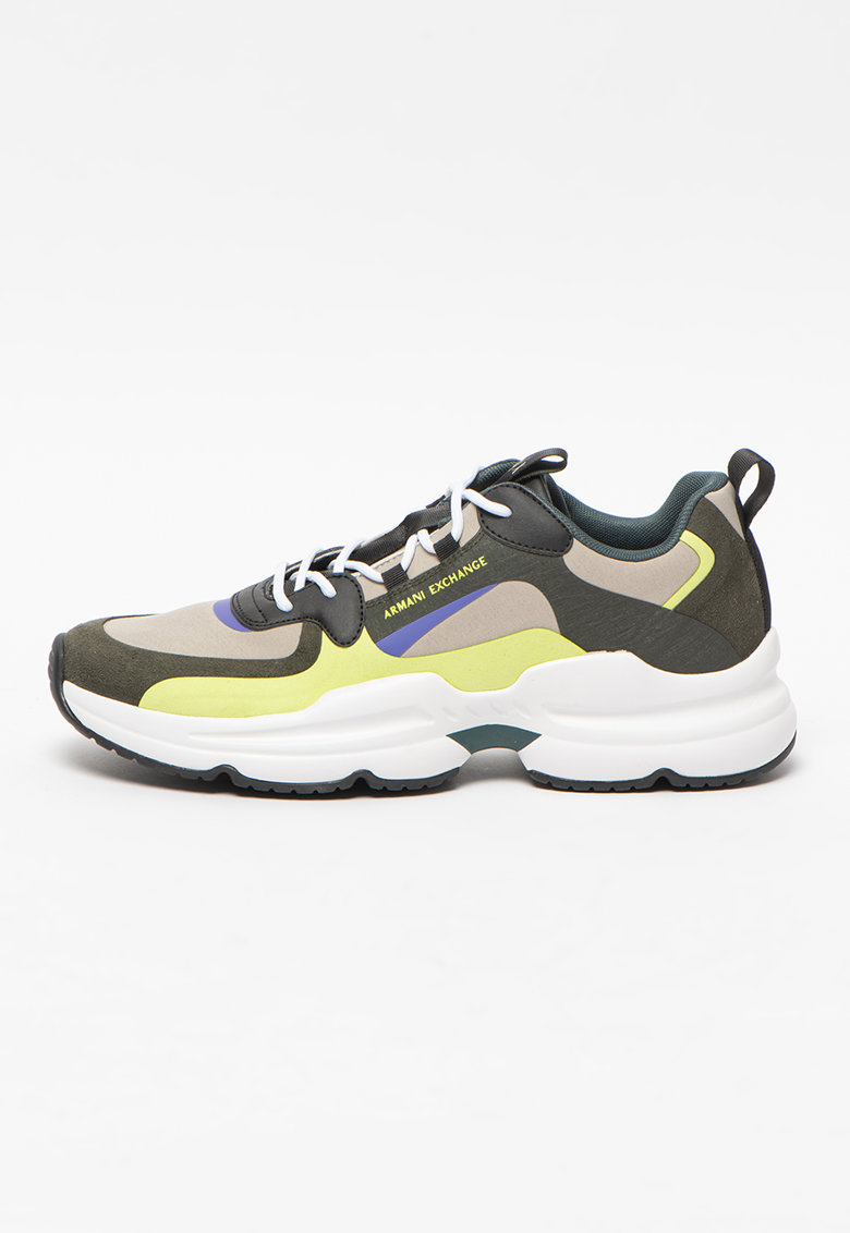 Pantofi sport de piele ecologica si material textil