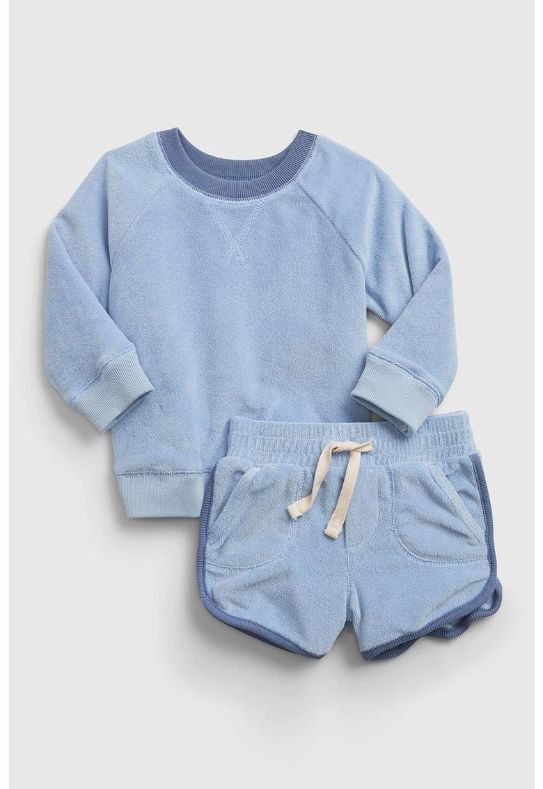 Set de pantaloni scurti si bluza sport din material terry moale