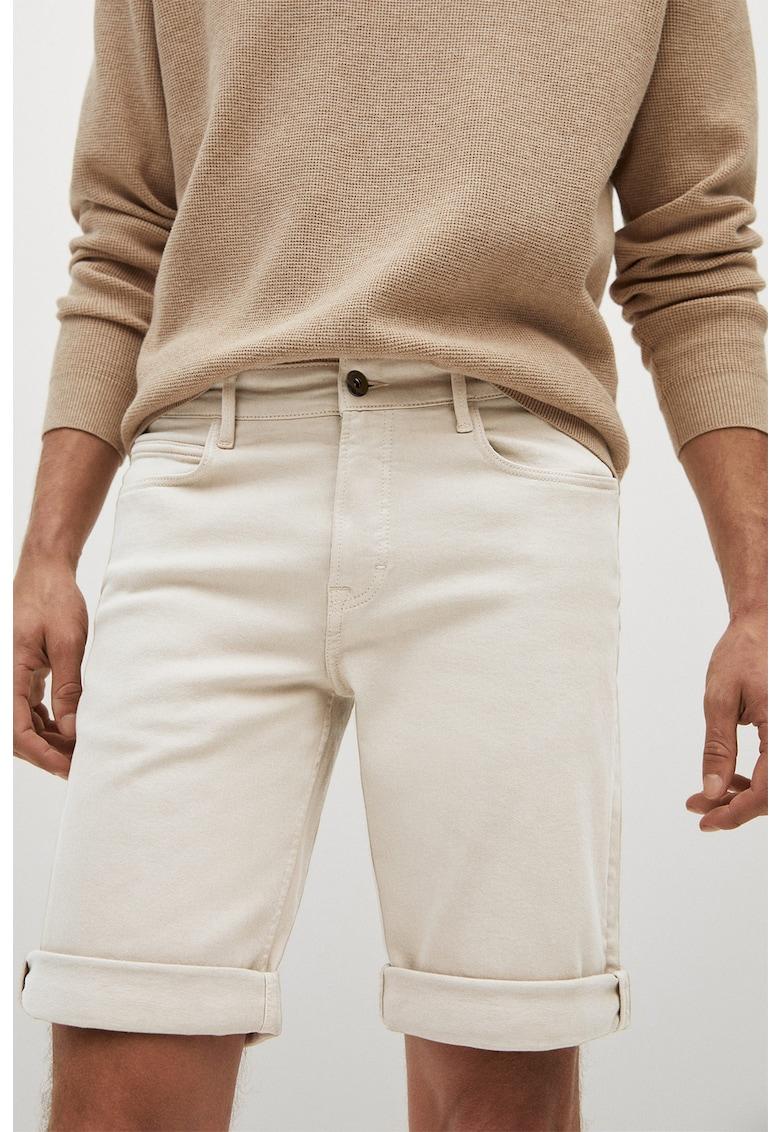 Pantaloni scurti din denim elastic cu terminatii rasucite Nepto