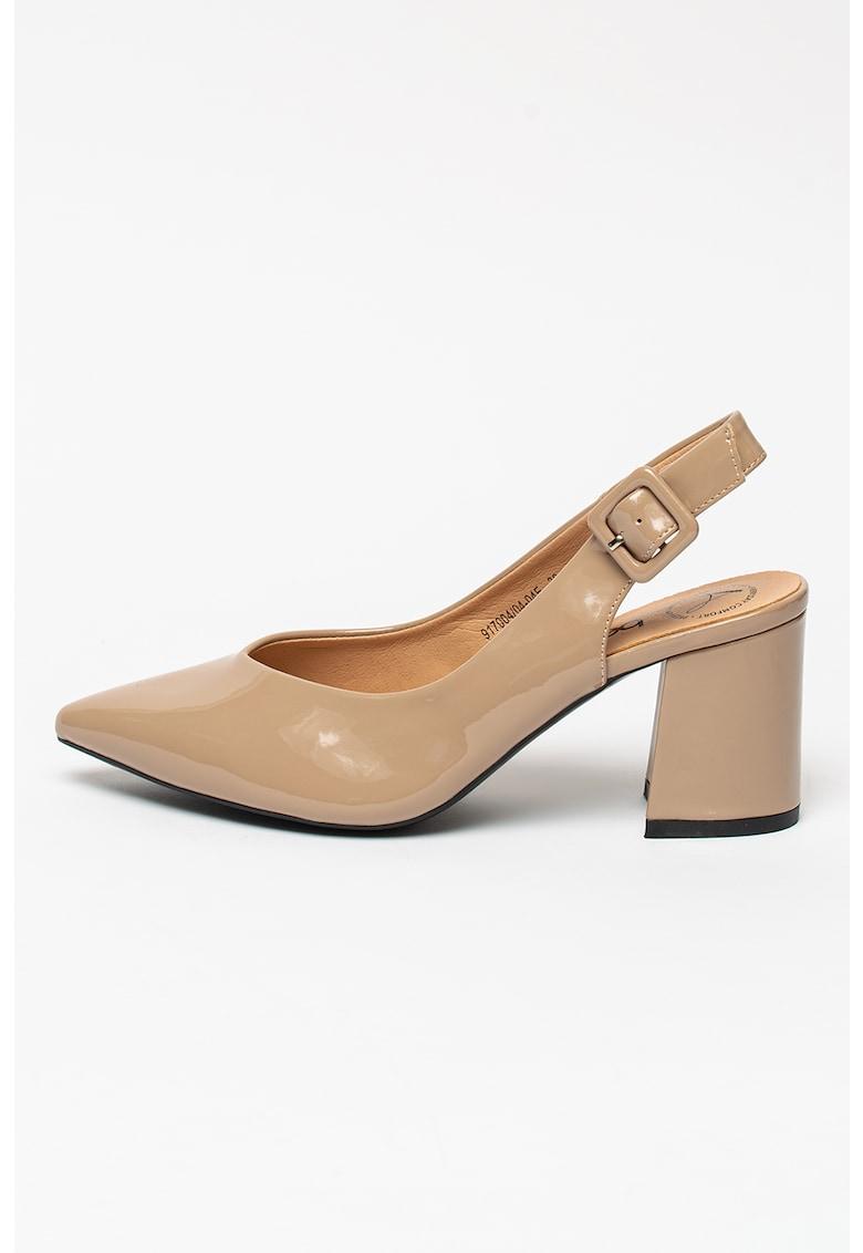 Pantofi slingback de piele sintetica lacuita cu toc bloc