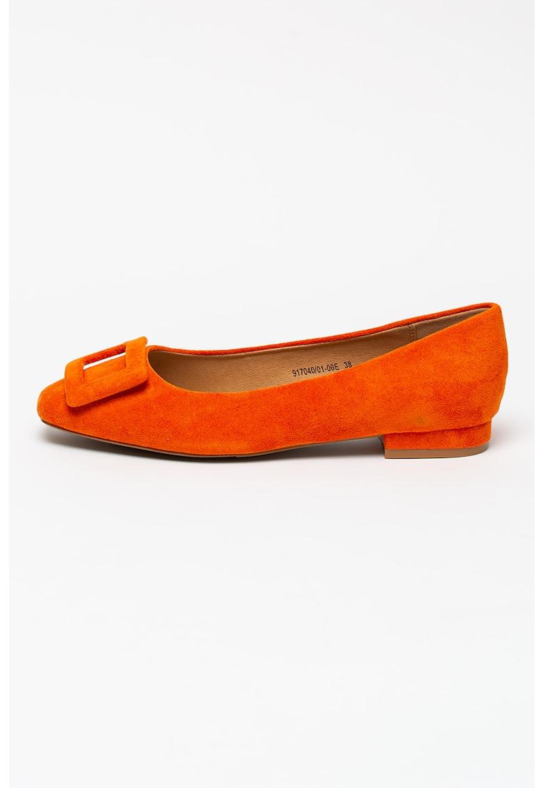 Balerini dama BETSY de piele intoarsa ecologica cu catarama decorativa portocalii