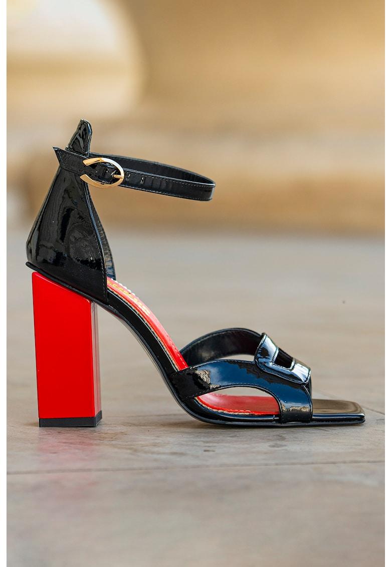 Sandale din piele lacuita cu toc masiv Summer