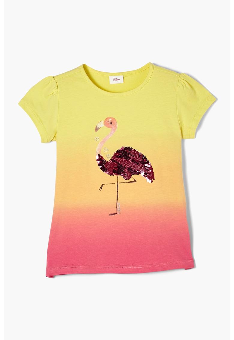 Tricou cu aspect in degrade si flamingo cu paiete