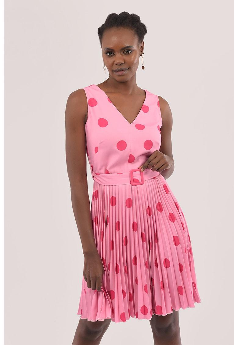Rochie mini cu pliuri si imprimeu cu buline