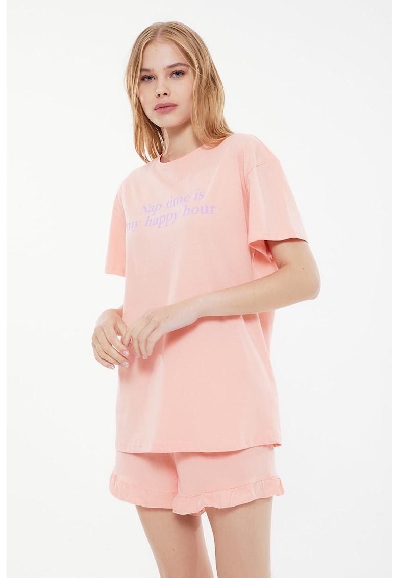Pijama de bumbac cu imprimeu text