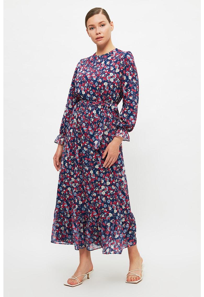 Rochie midi cu model floral si cordon in talie