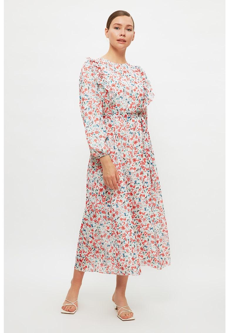 Rochie midi cu model floral si volane