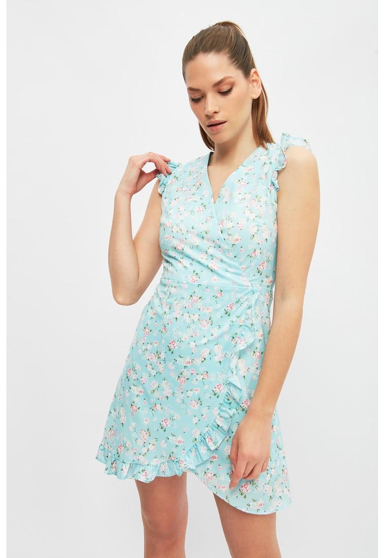 Rochie mini cu model floral si garnituri cu volane