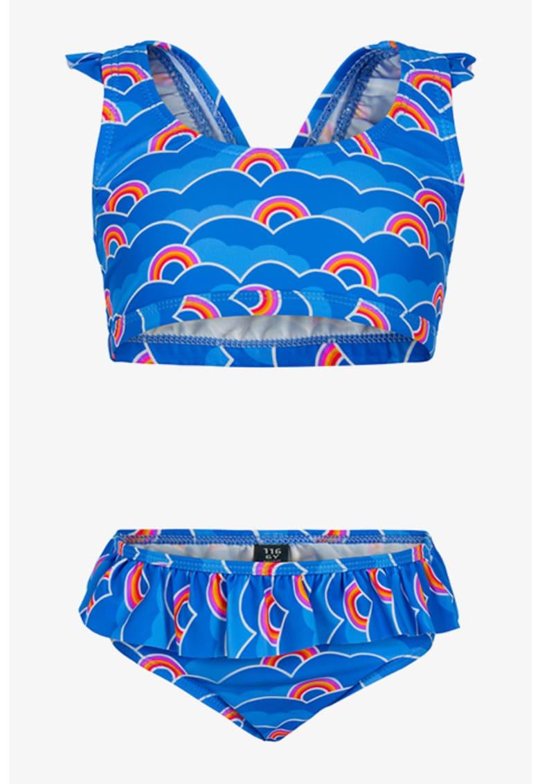 Costum de baie cu doua piese si imprimeu grafic