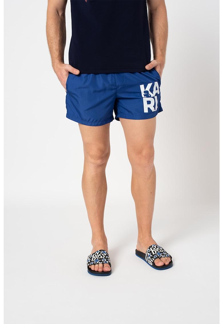 Pantaloni scurti de baie cu imprimeu logo supradimensionat de la Karl Lagerfeld