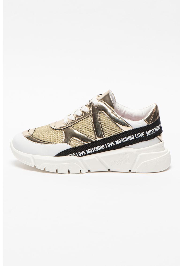 Pantofi sport de piele si piele ecologica cu logo