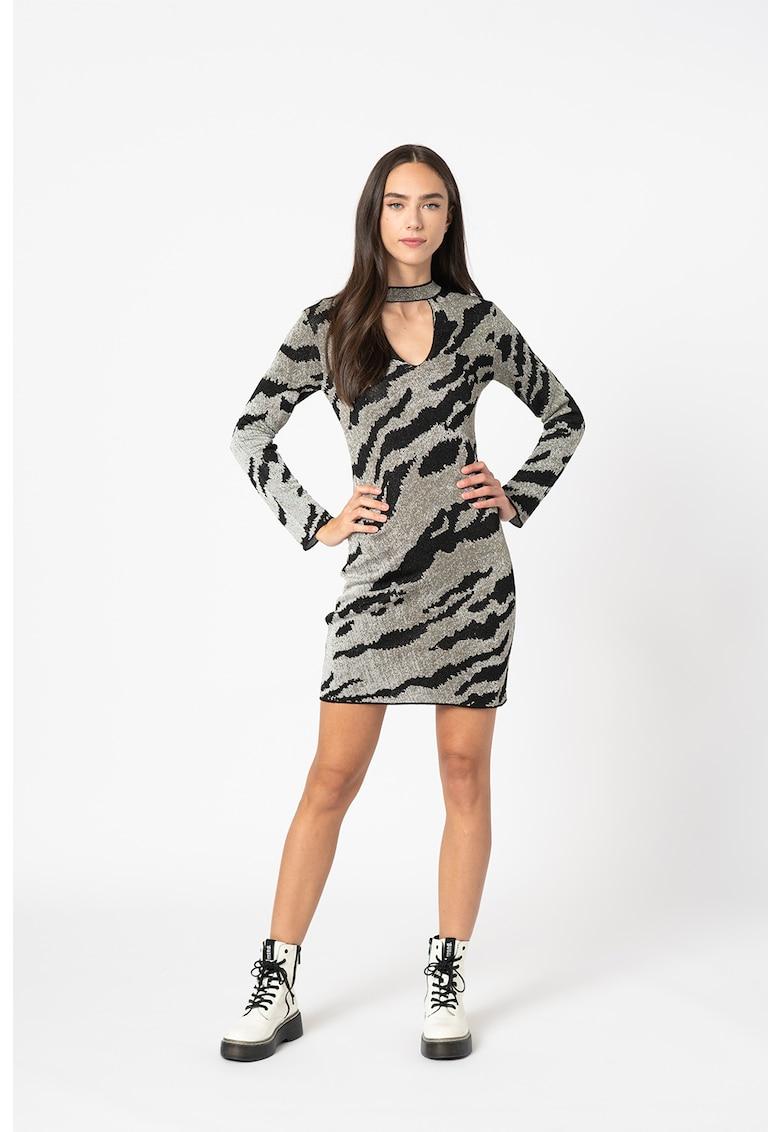 Rochie cu imprimeu zebra si decupaj