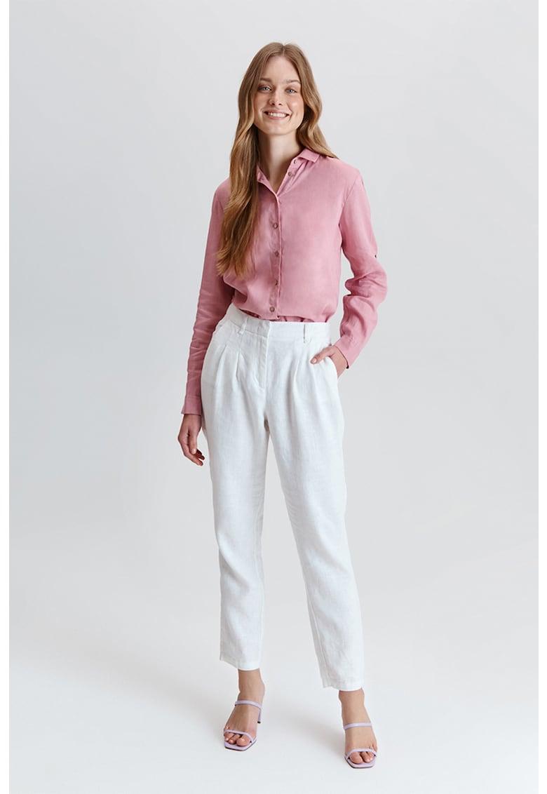 Pantaloni conici de in cu talie inalta