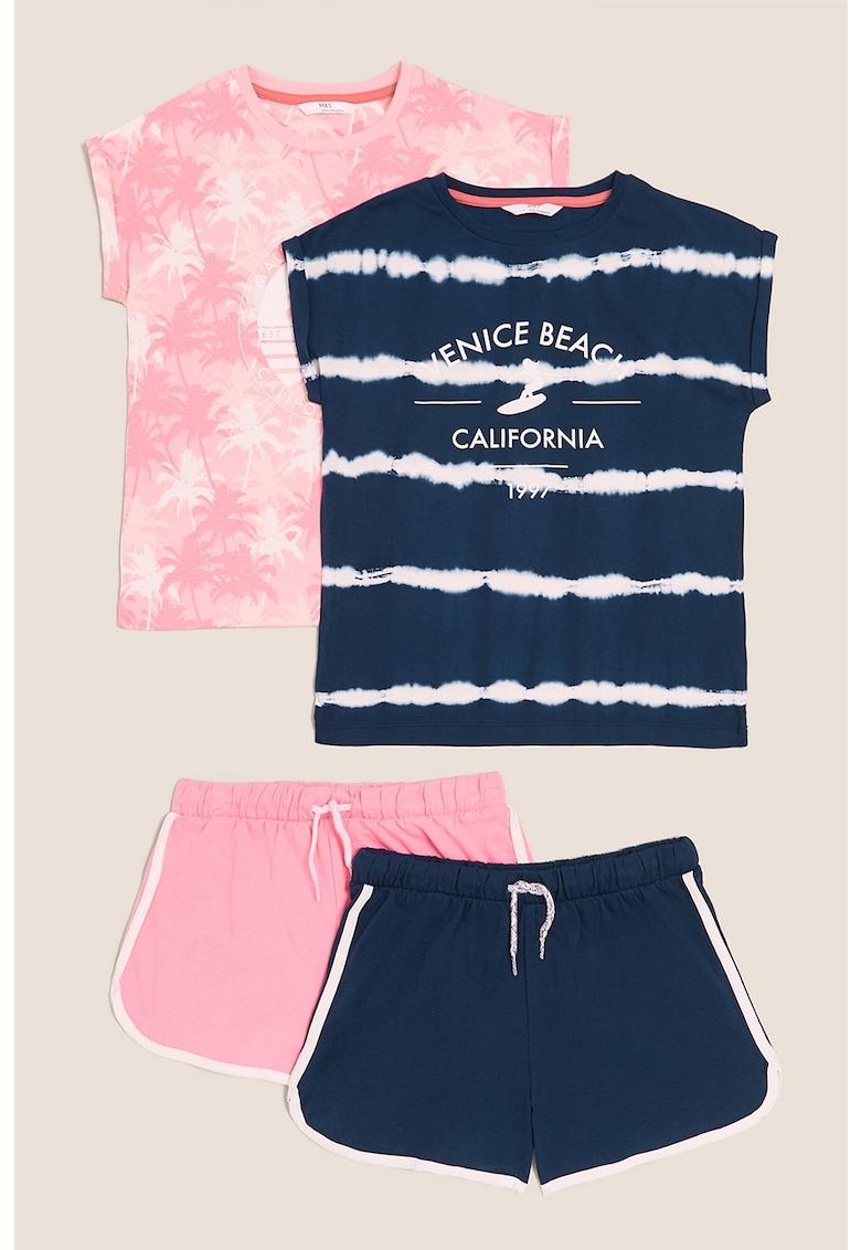 Set de pijamale cu model tie-dye - 2 piese