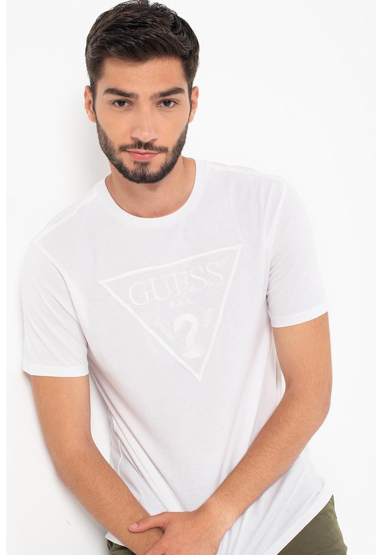 GUESS JEANS Tricou slim fit cu logo triunghiular brodat