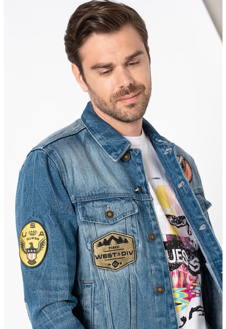 Jacheta de denim cu aplicatii