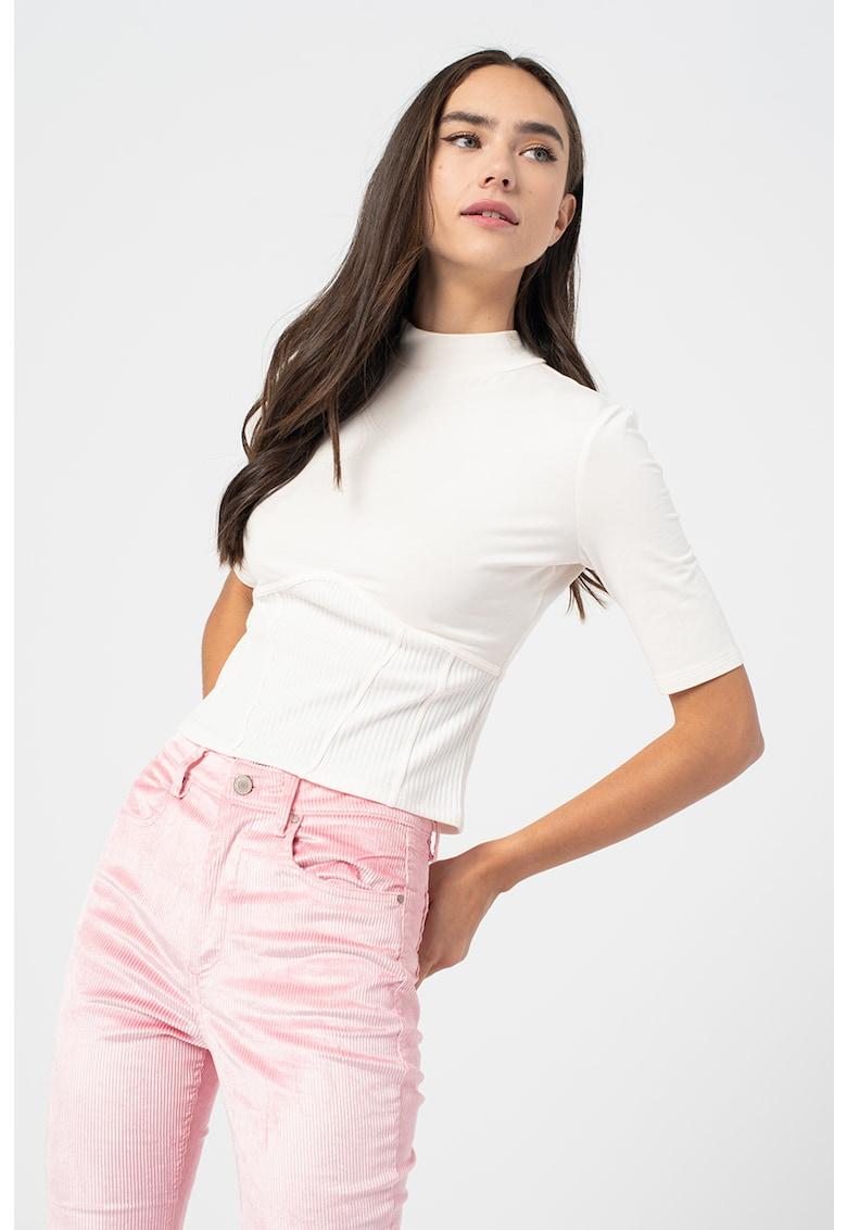 Bluza din amestec de modal cu guler scurt de la GUESS JEANS