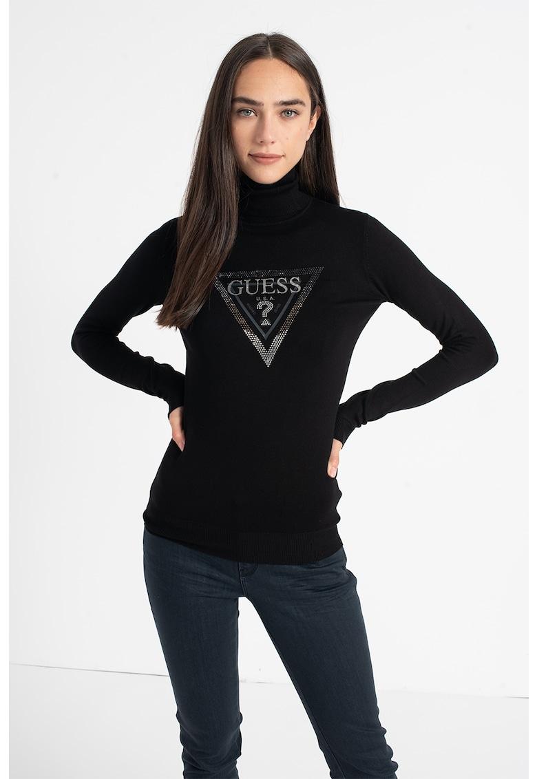 Pulover tricotat fin cu guler inalt si logo de la GUESS JEANS