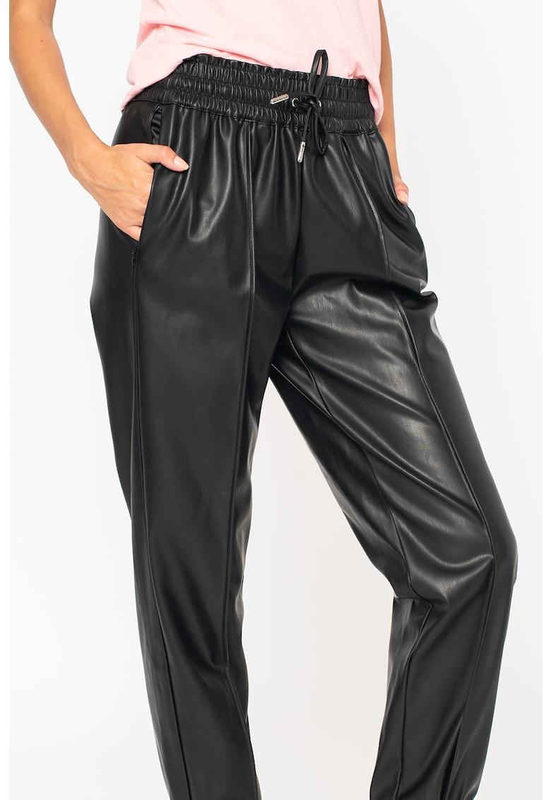 GUESS JEANS Pantaloni de piele ecologica cu talie elastica