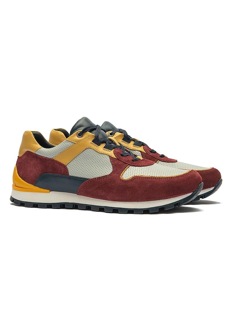 Pantofi sport din piele si piele intoarsa cu model colorblock