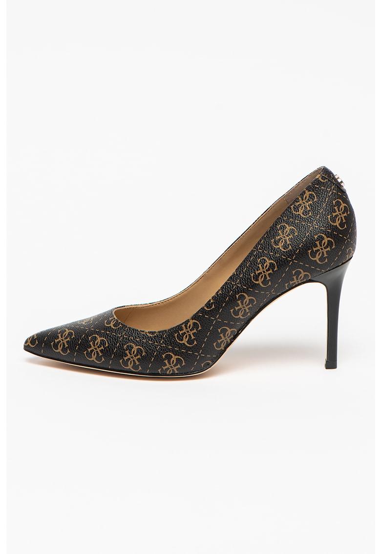 Pantofi de piele ecologica cu toc inalt