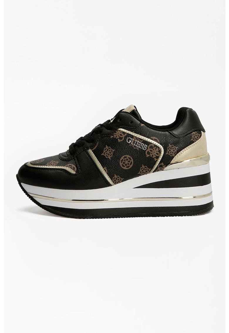 Pantofi sport din piele cu talpa wedge si imprimeu logo