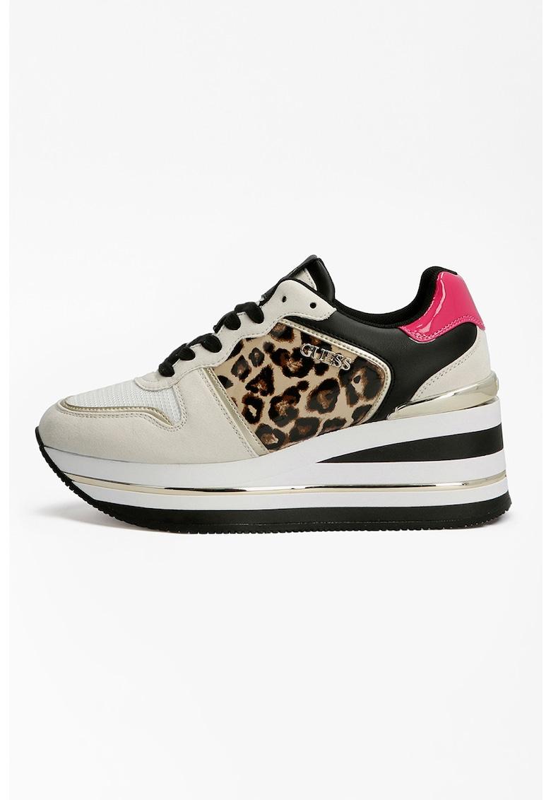 Pantofi sport din piele ecologica cu talpa wedge si accente cu model colorblock