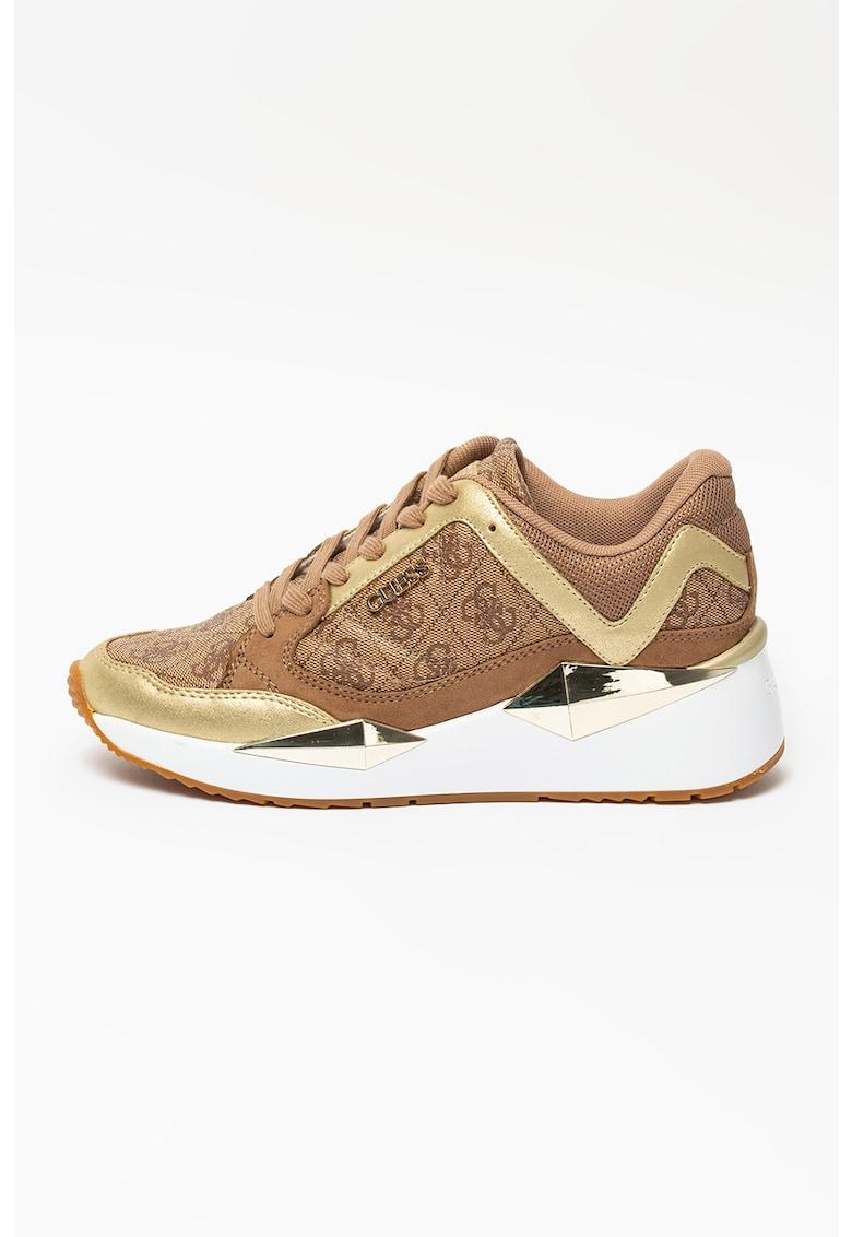 Pantofi sport de piele ecologica si material textil cu logo