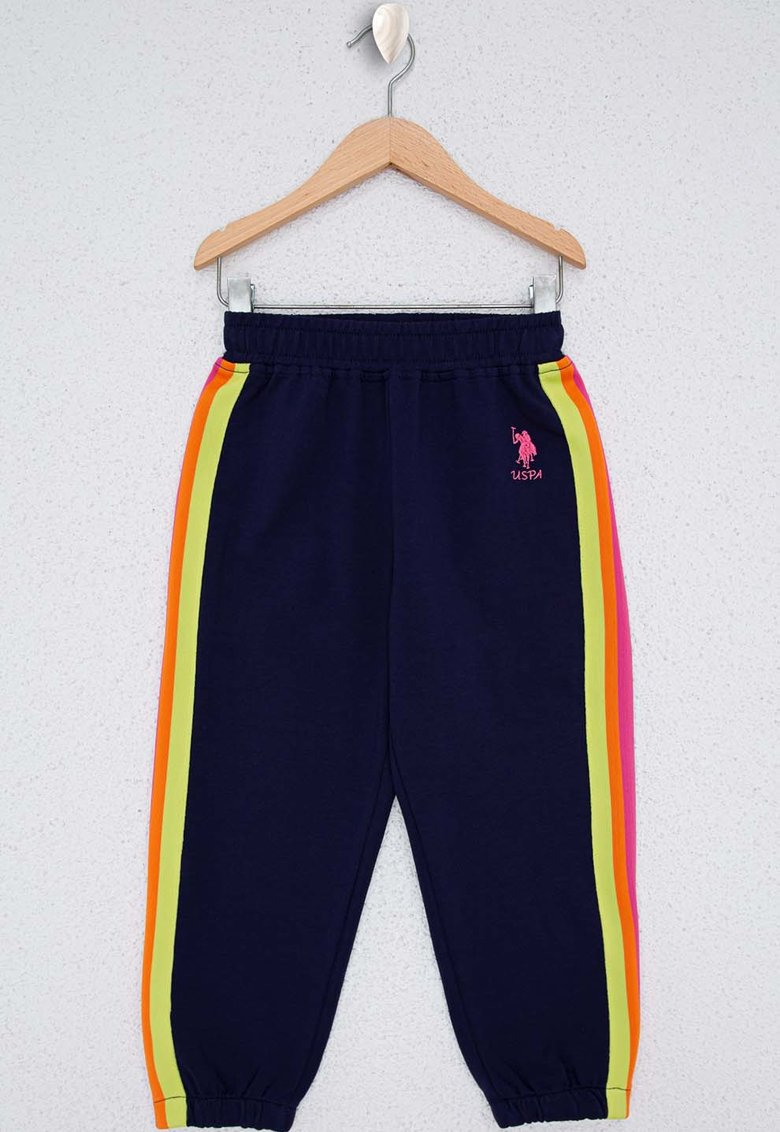 Pantaloni sport cu talie elastica si logo