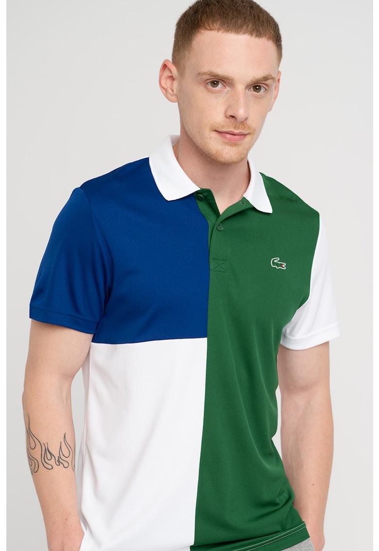 Tricou polo cu model colorblock si logo
