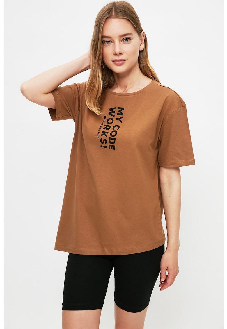 Pijama cu tricou cu imprimeu text