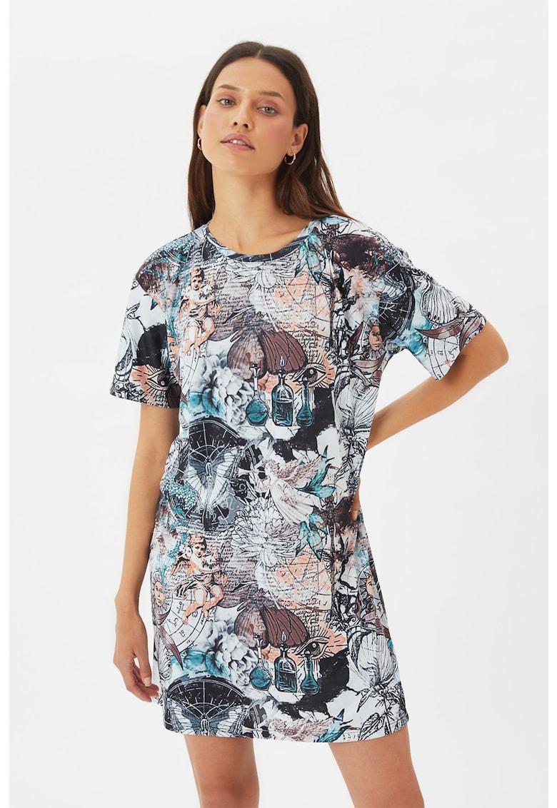 Rochie-tricou cu imprimeu si decolteu la baza gatului