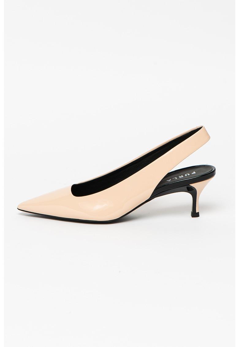 Pantofi slingback din piele cu toc ascutit