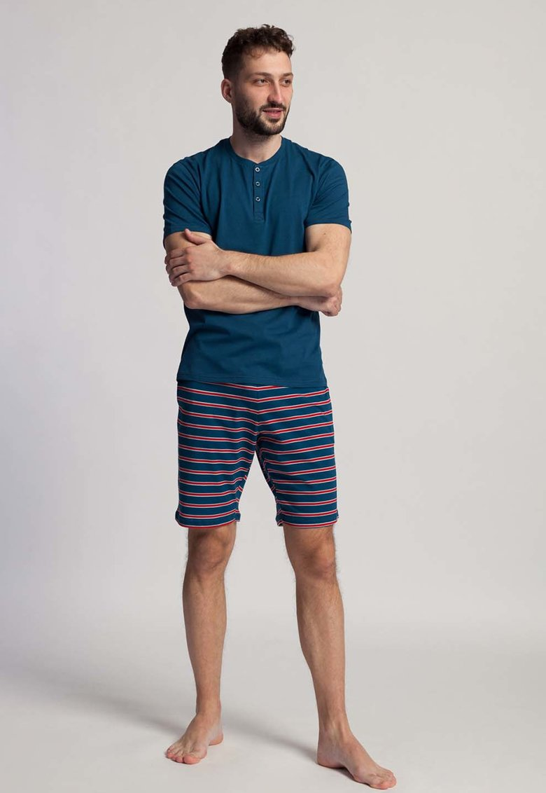 Pijama cu pantaloni scurti - guler Henley si dungi Fabian