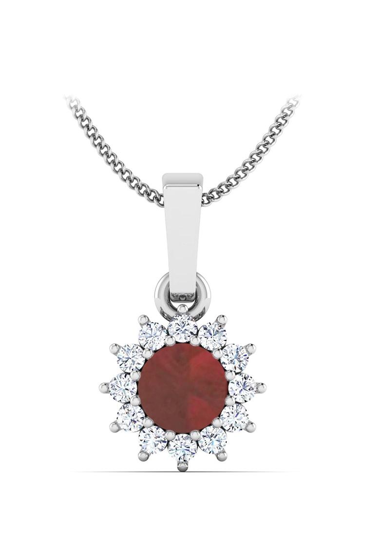 Pandantiv de aur de 18K cu un rubin si 12 diamante