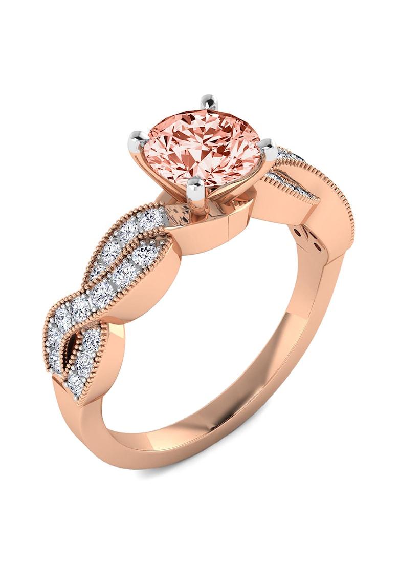 Inel de aur de 14K decorat cu cristale si diamant