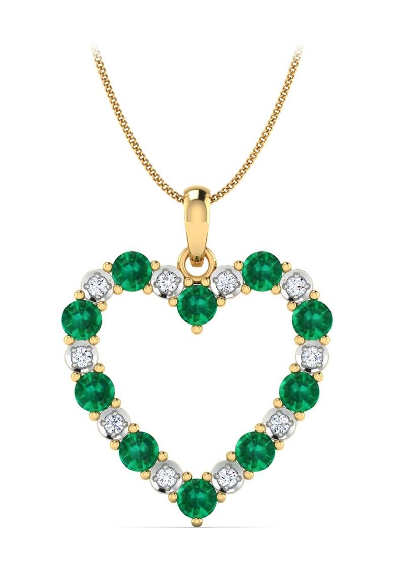 Pandantiv de aur de 18K - in forma de inima - decorat cu diamante
