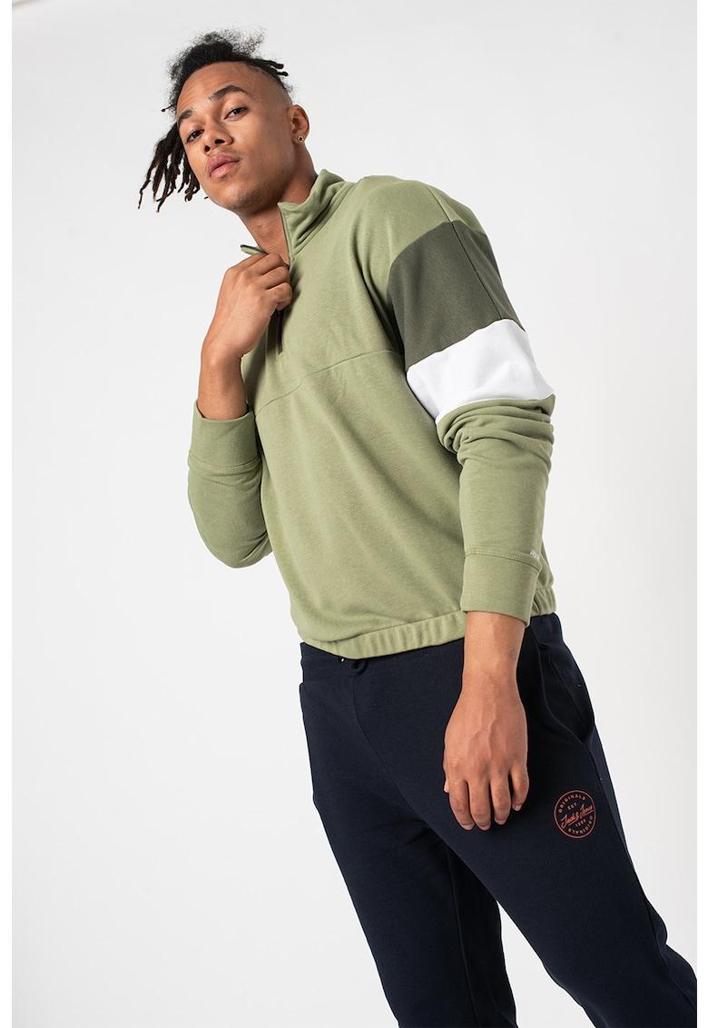 Jack & Jones - Bluza sport cu fermoar scurt si model colorblock Logan