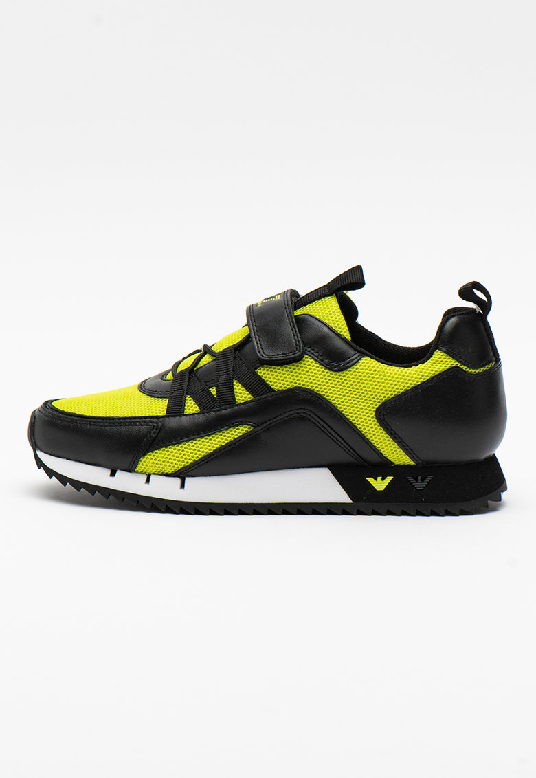 Pantofi sport din plasa cu garnituri din piele